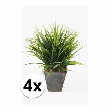 Afgeprijsde 4x gras nep kunstplanten in zwarte pot 30 cm