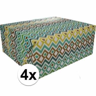 Afgeprijsde 4x kadopapier gekleurd type 3 70 x 200 cm