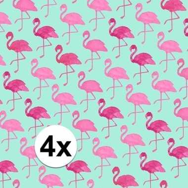 Afgeprijsde 4x kadopapier met flamingos type 2 70 x 200 cm