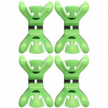 Afgeprijsde 4x kerstkaarten/geboortekaartjes ophangen klemmen groen z