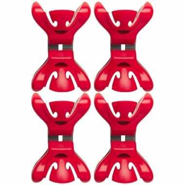 Afgeprijsde 4x kerstkaarten/geboortekaartjes ophangen klemmen rood zo