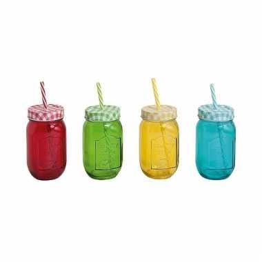 Afgeprijsde 4x mason jar drinkbeker met rietje 10075908