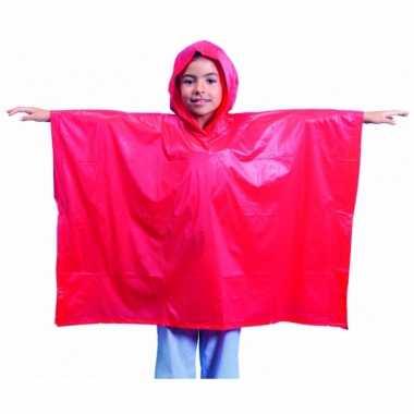 Afgeprijsde 4x regenponchos voor kids rood