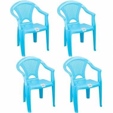 Afgeprijsde 4x tuinstoeltje blauw plastic met dichte leuning 37 x 31