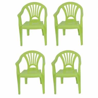 Afgeprijsde 4x tuinstoeltje groen plastic 37 x 31 x 51 cm voor kinder