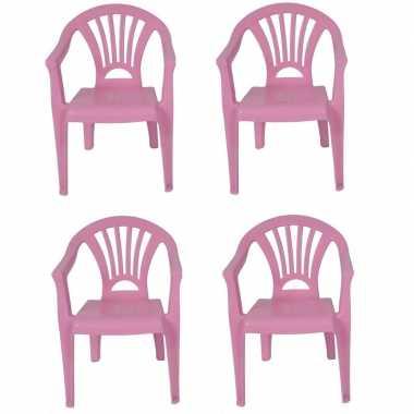 Afgeprijsde 4x tuinstoeltje roze plastic 37 x 31 x 51 cm voor kindere