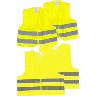 Afgeprijsde 4x veiligheidsvesten/hesjes geel voor volwassenen/kindere