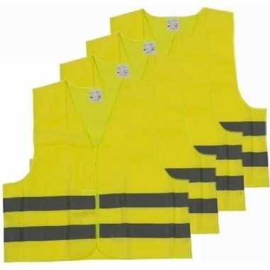 Afgeprijsde 4x veiligheidsvesten/hesjes geel voor volwassenen