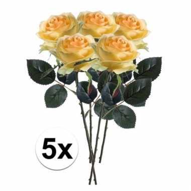 Afgeprijsde 5 x gele roos simone 45 cm kunstplant steelbloem