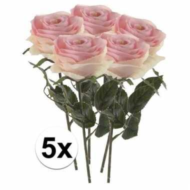 Afgeprijsde 5 x licht roze roos simone 45 cm kunstplant steelbloem
