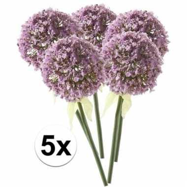 Afgeprijsde 5 x lila sierui 70 cm kunstplant steelbloem