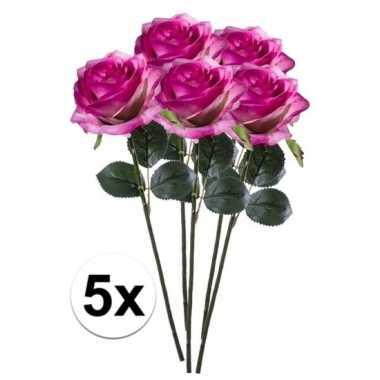 Afgeprijsde 5 x paars/roze roos simone 45 cm kunstplant steelbloem