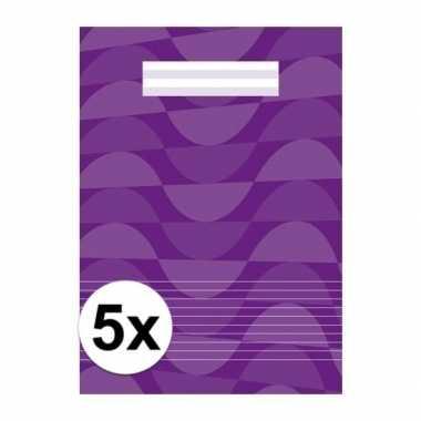 Afgeprijsde 5 x paarse a4 schriften met lijntjes