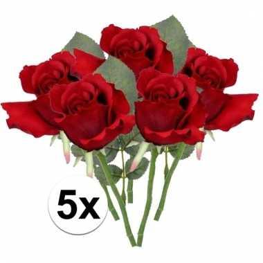 Afgeprijsde 5 x rode roos 30 cm kunstplant steelbloem