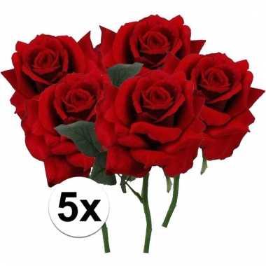 Afgeprijsde 5 x rode roos deluxe 31 cm kunstplant steelbloem