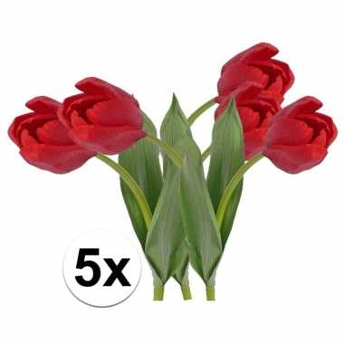 Afgeprijsde 5 x rode tulp 48 cm kunstplant steelbloem