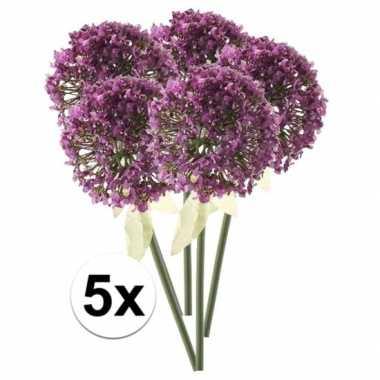 Afgeprijsde 5 x roze/paarse sierui 70 cm kunstplant steelbloem