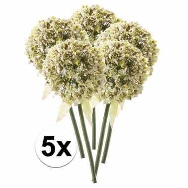 Afgeprijsde 5 x witte sierui 70 cm kunstplant steelbloem