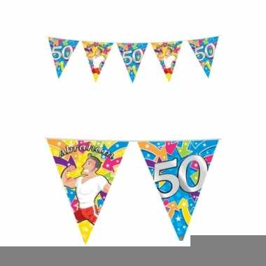 Afgeprijsde 50 jaar feest abraham buiten vlaggetjes