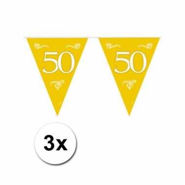 Afgeprijsde 50 jaar jubileum versiering vlaggenlijn 3 stuks