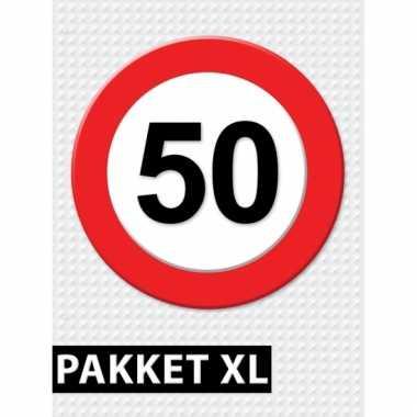 Afgeprijsde 50 jaar verkeersbord versiering xl pakket