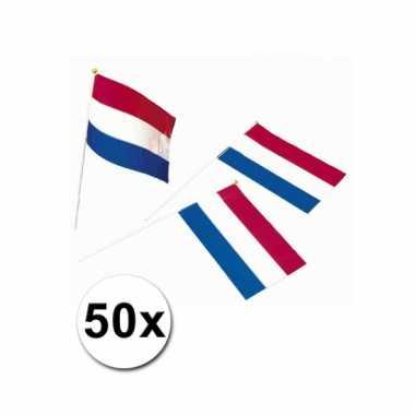 Afgeprijsde 50 zwaaivlaggetjes hollandse vlag