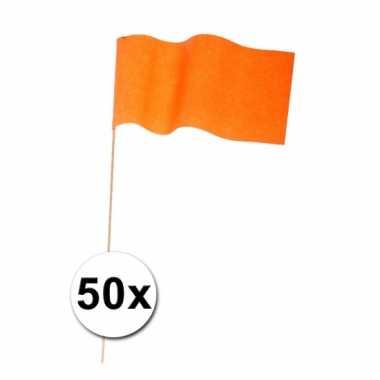 Afgeprijsde 50 zwaaivlaggetjes oranje