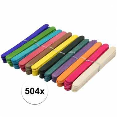 Afgeprijsde 504x gekleurde ijslolly stokjes