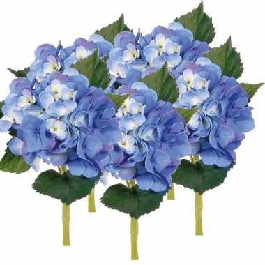 Afgeprijsde 5x blauwe kunst hortensia kunstbloemen 48 cm