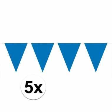 Afgeprijsde 5x blauwe vlaggenlijnen 10 meter
