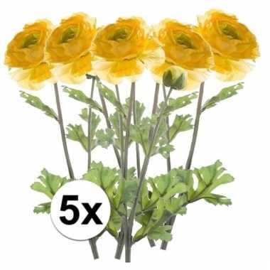 Afgeprijsde 5x gele ranonkel 45 cm kunstplant takken