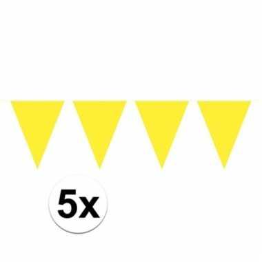Afgeprijsde 5x gele vlaggenlijnen 10 meter