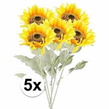 Afgeprijsde 5x gele zonnebloem 82 cm kunstplant steelbloem