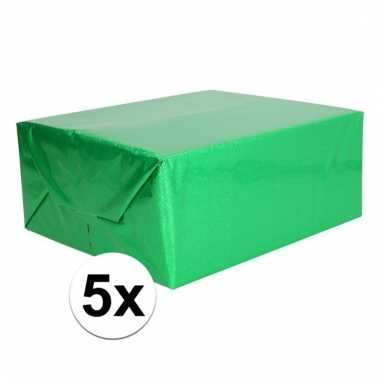 Afgeprijsde 5x glitter hobbyfolie groen 150 cm