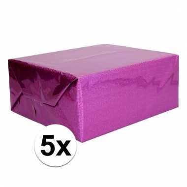 Afgeprijsde 5x glitter hobbyfolie paars 150 cm
