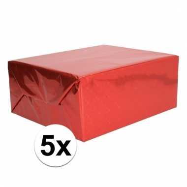 Afgeprijsde 5x glitter hobbyfolie rood 150 cm