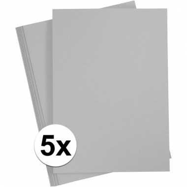 Afgeprijsde 5x grijs knutsel karton a4