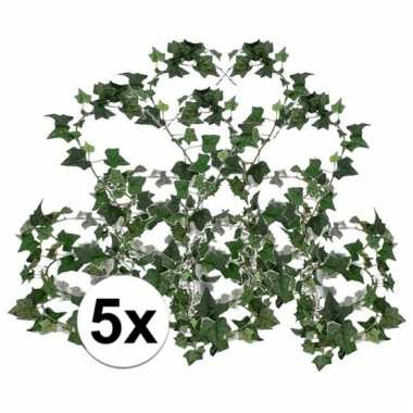 Afgeprijsde 5x groene klimop slinger 180 cm kunstplant