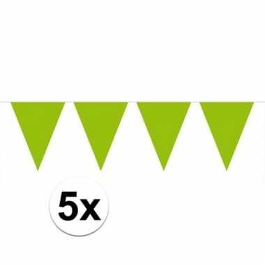 Afgeprijsde 5x groene vlaggenlijnen 10 meter