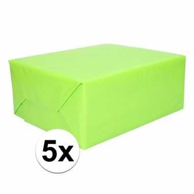 Afgeprijsde 5x inpakpapier lime groen 200 cm