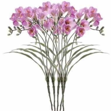 Afgeprijsde 5x kunstbloem tak freesia lila 63 cm