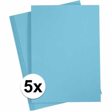 Afgeprijsde 5x lichtblauwe knutsel karton a4