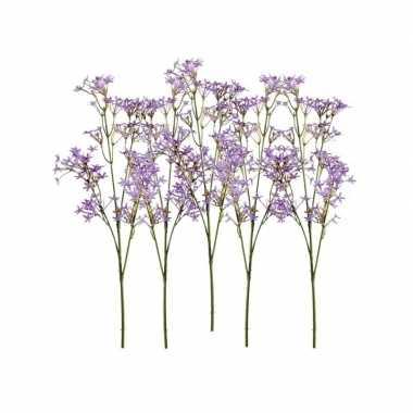 Afgeprijsde 5x paarse kroonkruid kunstbloemen takjes 68 cm