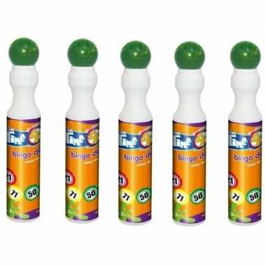 Afgeprijsde 5x ronde groene stift/marker voor bingo 43 ml