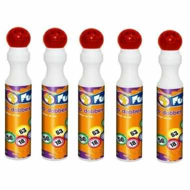 Afgeprijsde 5x ronde rode stift marker voor bingo 43 ml