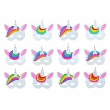 Afgeprijsde 6x foam unicorn/eenhoorn dieren maskertjes voor kinderen