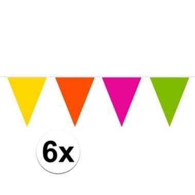 Afgeprijsde 6x gekleurde slinger 10 meter