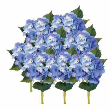 Afgeprijsde 8x blauwe kunst hortensia kunstbloemen 48 cm