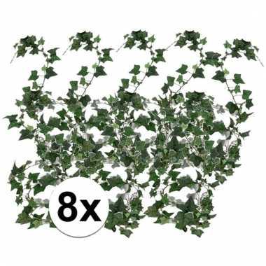 Afgeprijsde 8x groene klimop slinger 180 cm kunstplant