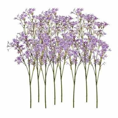 Afgeprijsde 8x paarse kroonkruid kunstbloemen takjes 68 cm